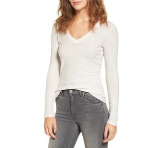 NEW! James Perse Long Sleeve Slub V-Neck T-Shirt